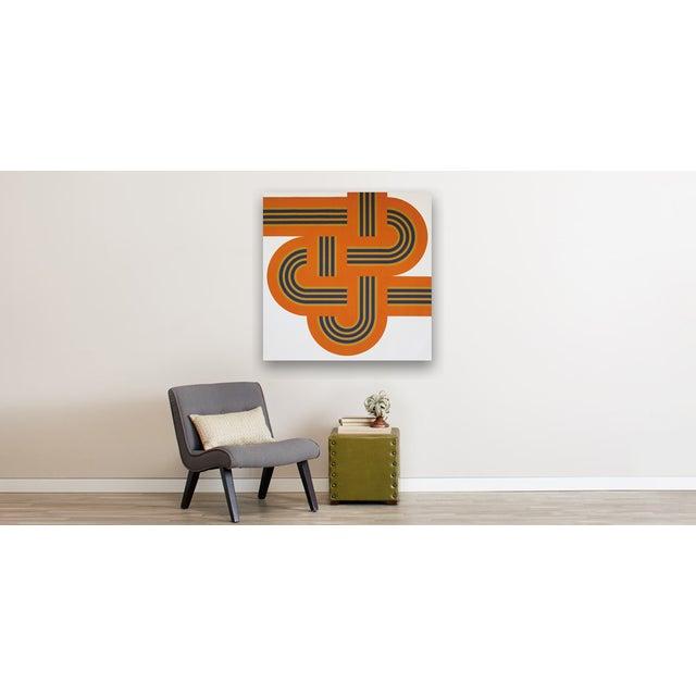 """Bold Orange """"Weave"""" Large-Scale Supergraphic Art - Image 2 of 2"""