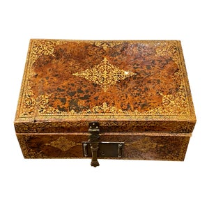 18th Century Leather Box With Gilt Trim For Sale