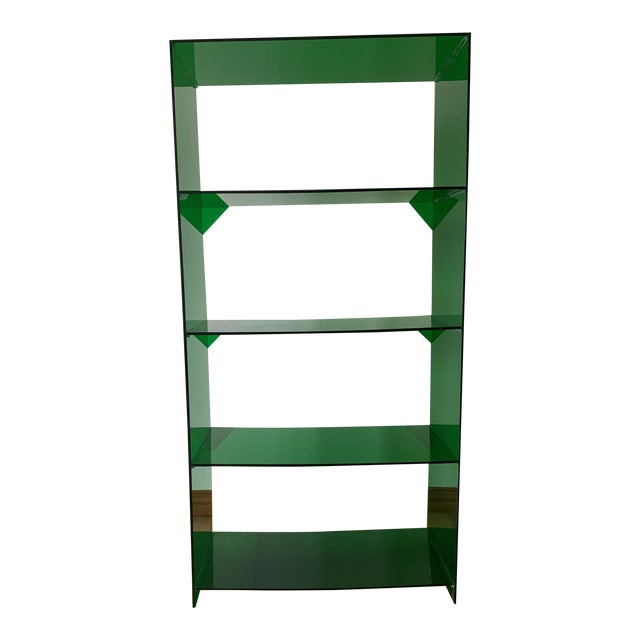 Late 20th Century Green Acrylic Bookshelf For Sale