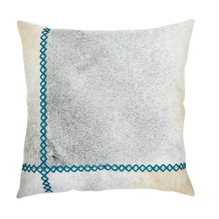 "Modern Cowhide and Turquoise Leather Pillow - 22x22"" For Sale"