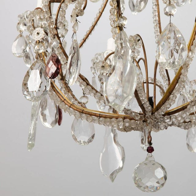 French Five Light Brass Beaded Cage Shape Chandelier - Image 4 of 6