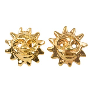 Christian Lacroix Clip Earrings Gilt Metal Resin Sun Mask For Sale