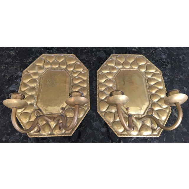 Antique Continental Brass Repousse Wall Candle Sconces - a Pair For Sale - Image 11 of 13