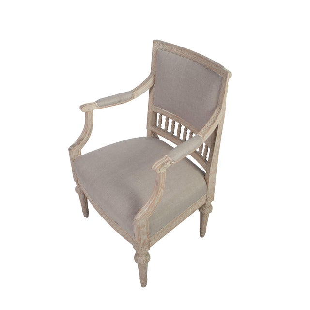 Gustavian (Swedish) Pair of Gustavian Armchairs With Carved Wood Spindle Decoration For Sale - Image 3 of 5