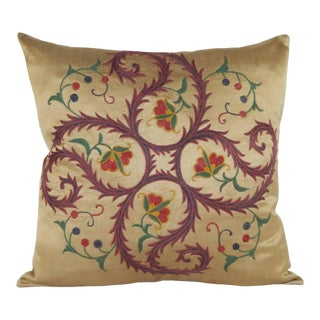 Suzani Embroidered Pillow With Floral Pattern For Sale