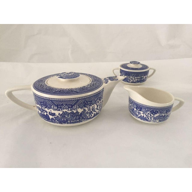 Vintage Blue Willow Teapot, Sugar & Creamer - Set of 3 For Sale In New York - Image 6 of 6