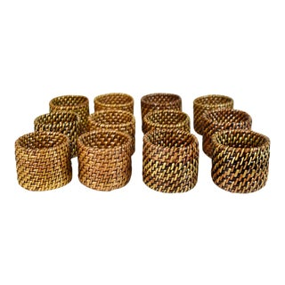 Hand Woven Wicker Rattan Napkin Rings - Set of 12 For Sale