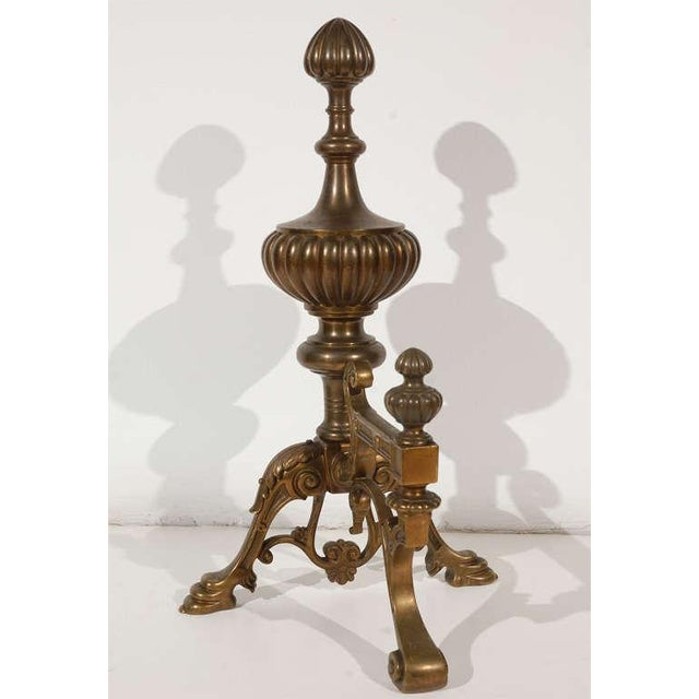 Cast Brass Andirons - a Pair For Sale - Image 9 of 10