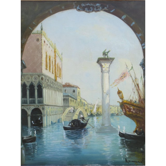 "Paint 1930s Venice ""Aqua Alta"" Oil Painting For Sale - Image 7 of 7"
