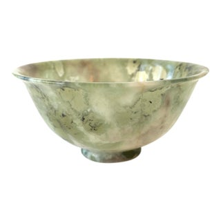 Antique Nephrite Pink and Green Jade Bowl For Sale