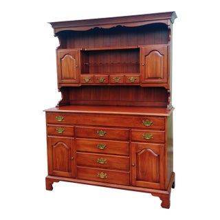 Frederick Duckloe & Bros Solid Wild Black Cherry Sideboard & China Cabinet Hutch For Sale