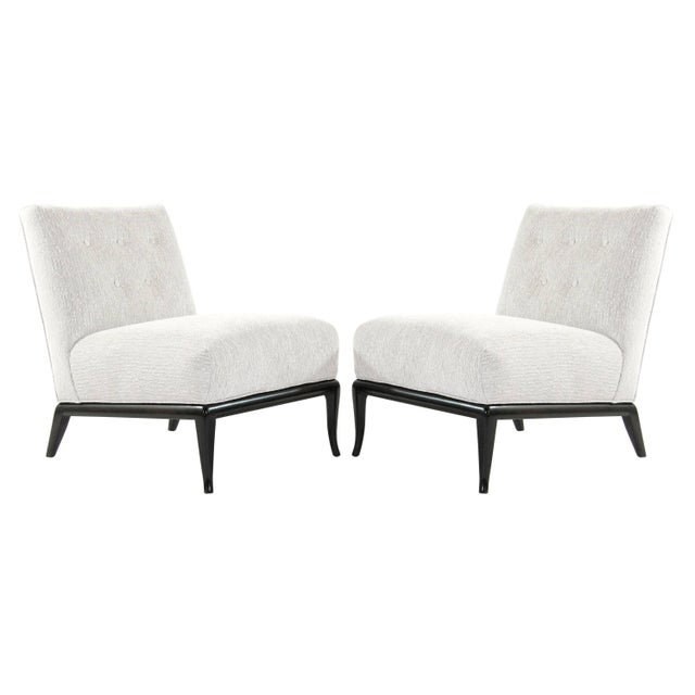 Grey Chenille Slipper Chairs by T.H. Robsjohn-Gibbings - a Pair For Sale - Image 12 of 12