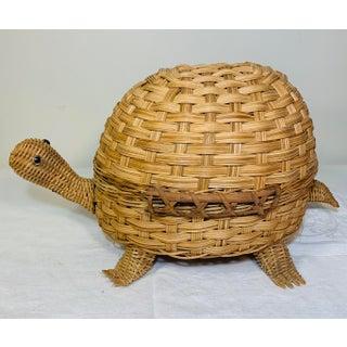 Mid Century Modern Wicker Turtle Storage Box Preview