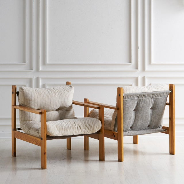 Pair of European Wooden Lounge Chairs For Sale - Image 4 of 11