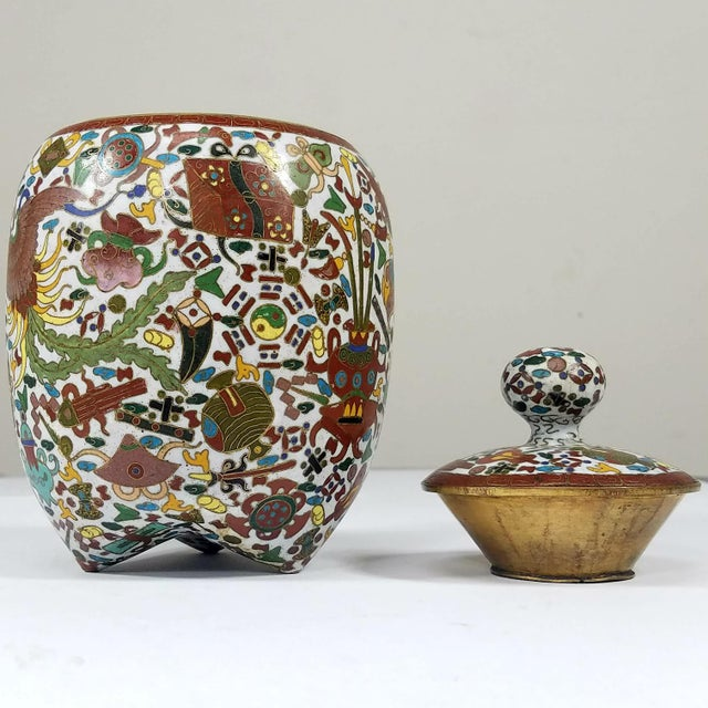 Rare Chinese Cloisionne Vase For Sale - Image 5 of 7