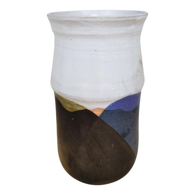 Mid-Century Folk Art Ceramic Vase For Sale
