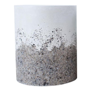 Hand Made Grey Agate and White Plaster Drum, Side Table by Samuel Amoia For Sale