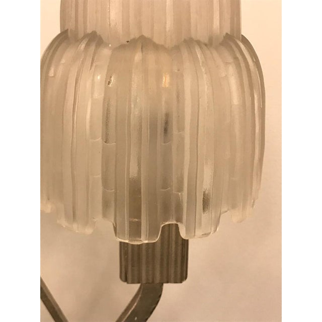 """French Art Deco """"Waterfall"""" Table Lamp Signed by Sabino For Sale - Image 9 of 13"""