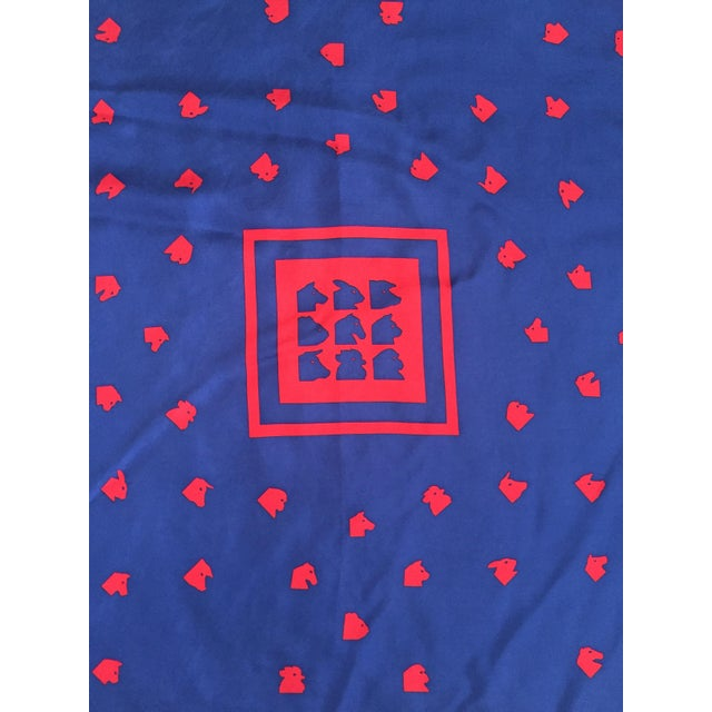 Vintage Italian Blue Silk Fabric Square - Image 3 of 7
