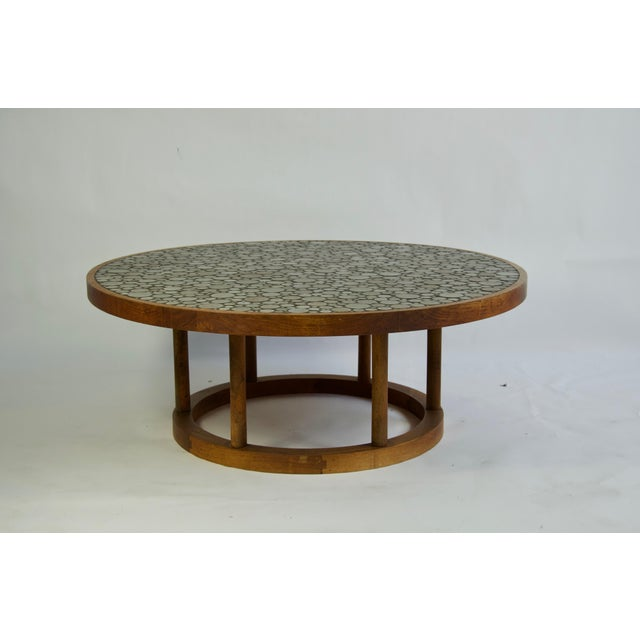 Ceramic tile-top coffee table by Gordon and Jane Martz for Marshall Studios. Walnut Frame and base.