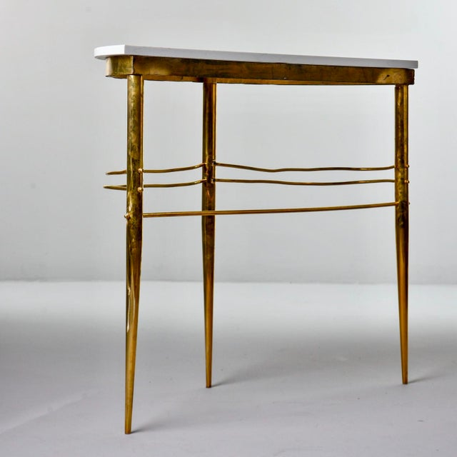 White Mid Century Italian Brass Demilune Console With White Marble Top For Sale - Image 8 of 12