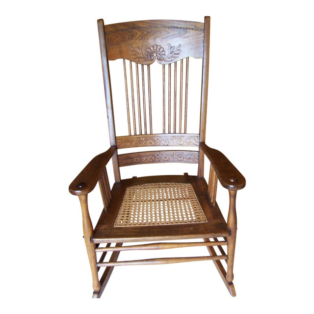 Antique Triple Pressed Back Rocking Chair For Sale