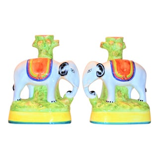 Vintage Italian Majolica Elephant Vases - a Pair For Sale