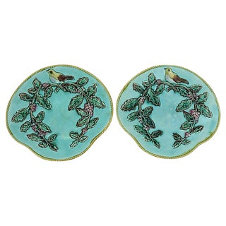 Antique Majolica Serving Plates w/ Birds