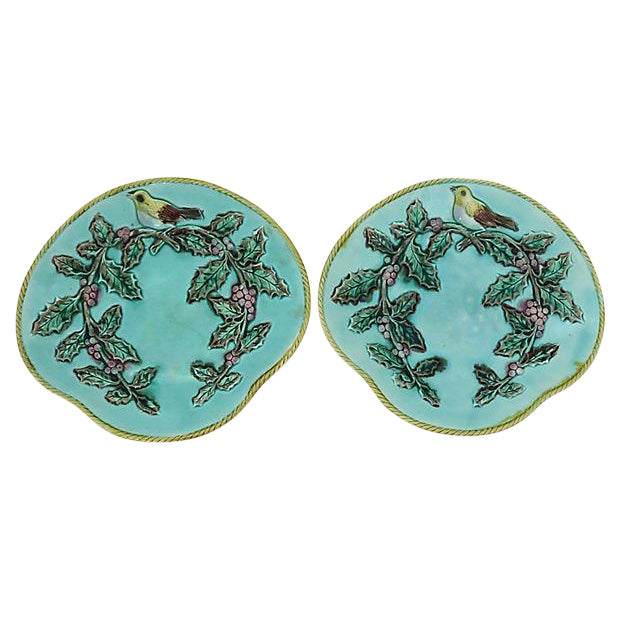Antique Majolica Serving Plates w/ Birds For Sale