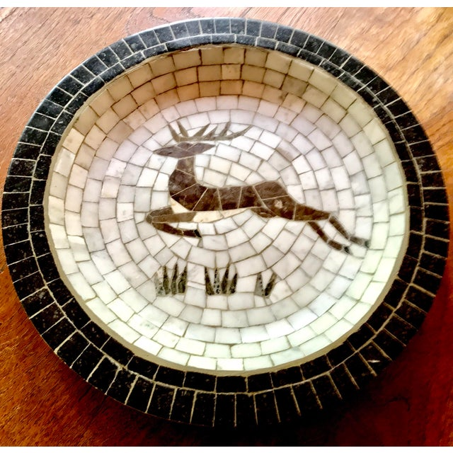 Mid-Century Danish Mosaic Plate With Leaping Reindeer Deer or Stag by Signed Heide of Denmark - Image 3 of 7