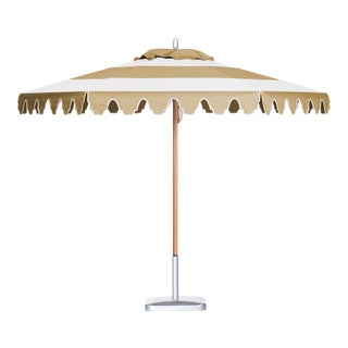 Desert Sand 9' Patio Umbrella in Tan & White For Sale