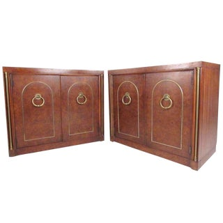 Weiman Vintage Modern Burlwood Mastercraft Style Cabinets For Sale