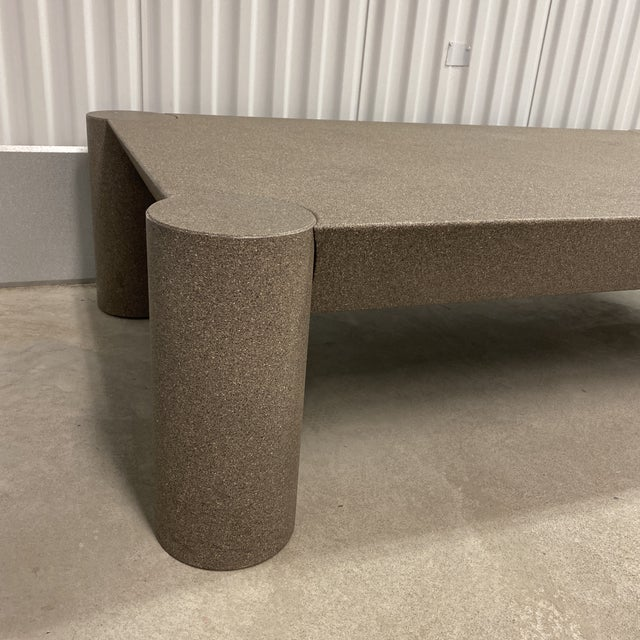 Vintage postmodern circa 1990s coffee table with thick column legs and a textured grey lacquer finish. Good vintage...