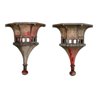 19th Century Pair of Large Architectural Zinc Finials With Original Paint For Sale