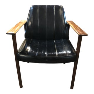 1960s Vintage Finn Juhl Style Rose Wood and Leather Chair For Sale