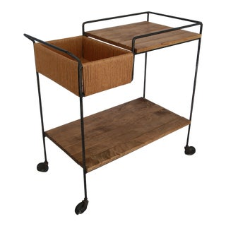 1950s Mid-Century Modern Sleek Arthur Umanoff Bar Cart For Sale
