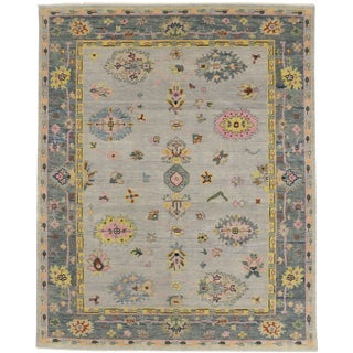 Contemporary Pink and Blue Oushak Rug - 8′ × 10′ For Sale