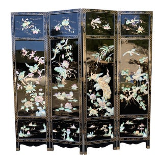 Chinese Asian Mid-Century 4 Panel Black Lacquer Room Divider For Sale