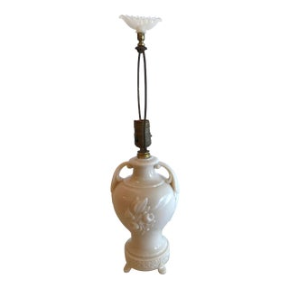 20th Century Art Deco Milk Glass Urn Style Table Lamp For Sale