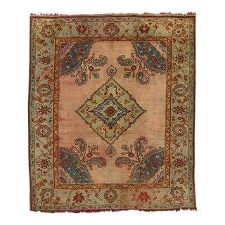 Antique Turkish Oushak Rug with Modern Style