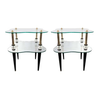 Mid Century Brass, Antique Mirror, Ebonized Walnut and Glass End Tables - a Pair For Sale