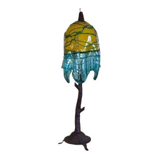 "Mexican Green and Blue Blown Glass Shade ""Tree"" Table Lamp For Sale"