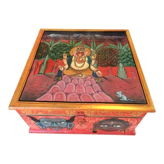 Hand Painted Indian Ganesh Box For Sale