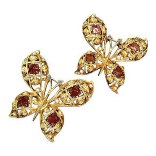 Pair of Jeweled Enamel Gilt Metal Butterfly Brooches Circa 1980s For Sale