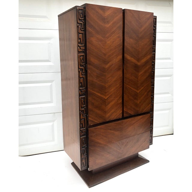 United Furniture Corporation Tall Mid-Century Witco Style Armoire by United Furniture For Sale - Image 4 of 13