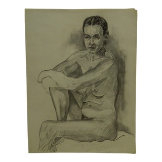 """""""Very Serious Nude"""" Original Drawing on Paper"""