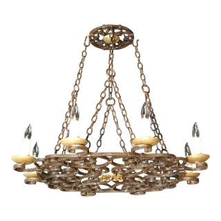 Early 20th Century Round Cast Iron Antique Chandelier For Sale
