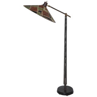 "1950s Max Kment Style Ebonized Floor Lamp With Parchment ""Rice Hat"" Tilt Shade For Sale"