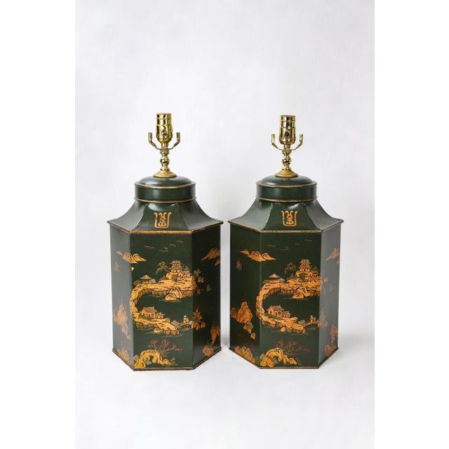 Green Vintage English Export Hexagonal Tea Caddy Hand-Painted Chinoiserie Landscape Lamp For Sale - Image 8 of 9