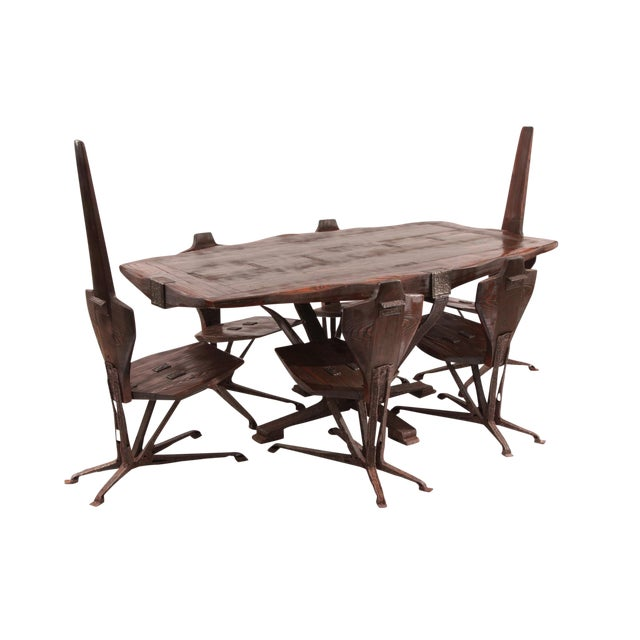 Brutalist Steel & Pine Dining Table & Chairs - Set of 7 - Image 1 of 5